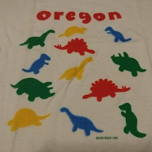 "Vtg ""Oregon"" 3-D Primary dinosaur shirt single"